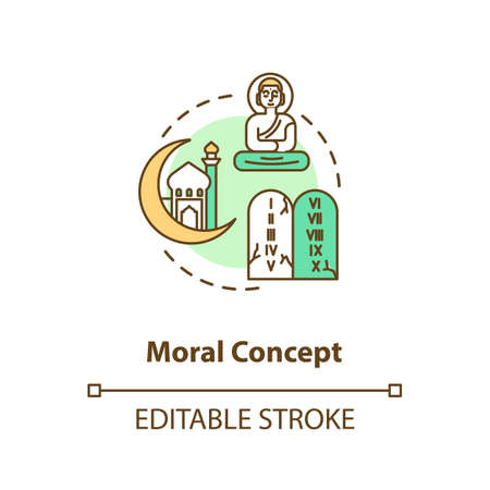 Moral concept icon. Cultural diversity. Buddhism and christianity. Hindu temple. Different religion idea thin line illustration. Vector isolated outline RGB color drawing. Editable stroke