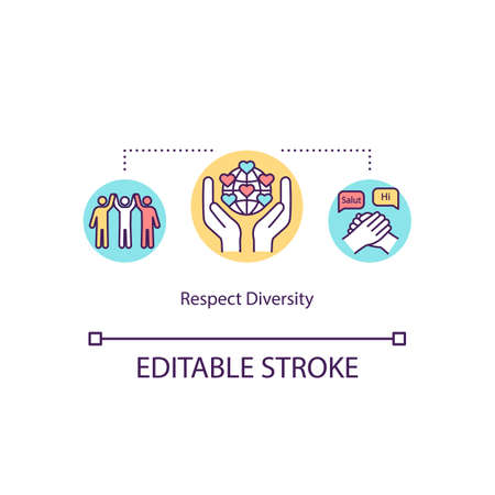Respect diversity concept icon. Multiracial solidarity. Multiethnical union. National equality. Multiculturalism idea thin line illustration. Vector isolated outline RGB color drawing. Editable stroke 向量圖像