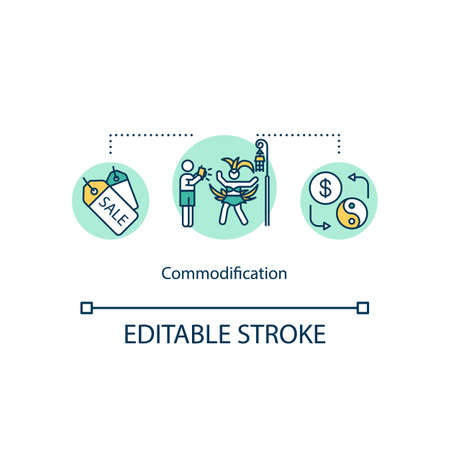 Commodification concept icon. Trade for goods and services. International commodities. Cultural exchange idea thin line illustration. Vector isolated outline RGB color drawing. Editable stroke