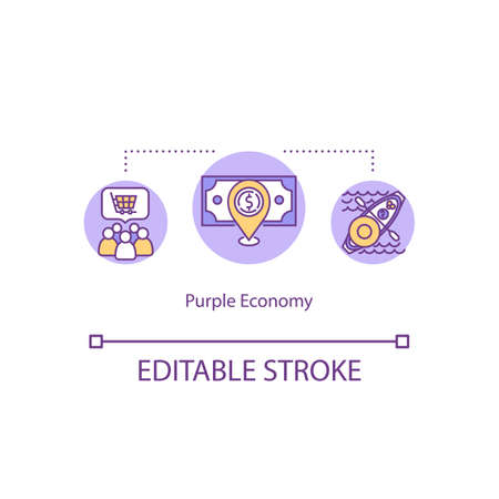 Purple economy concept icon. Multicultural society financial system. Consumerism, commerce. International trade idea thin line illustration. Vector isolated outline RGB color drawing. Editable stroke Vectores