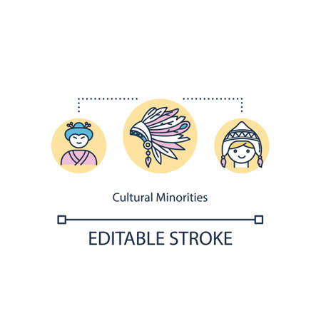 Cultural minorities concept icon. Multi ethnic society. Multi racial colonial group. Multicultural equality idea thin line illustration. Vector isolated outline RGB color drawing. Editable stroke Vettoriali