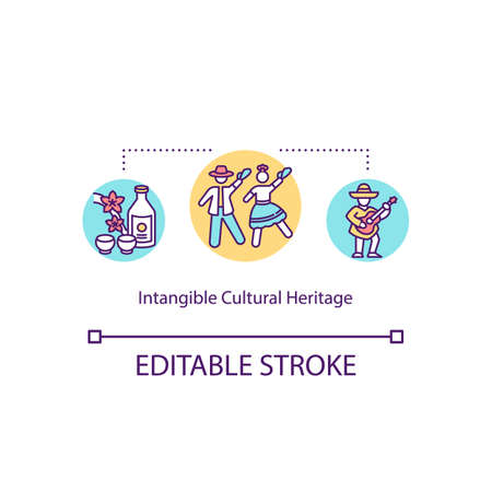 Intangible cultural heritage concept icon. Custom conservation. Indigenous people. Multi national tradition idea thin line illustration. Vector isolated outline RGB color drawing. Editable stroke