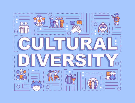 Cultural diversity word concepts banner. International communication. Different race. Infographics with linear icons on blue background. Isolated typography. Vector outline RGB color illustration