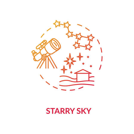 Starry sky red concept icon. Watch constellation with telescope in village. Night sky observation. Country camping idea thin line illustration. Vector isolated outline RGB color drawing