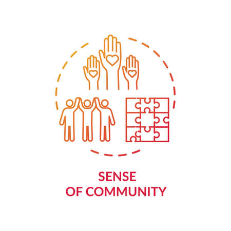 Sense of community red concept icon. Diverse people collaboration. Society support. Multicultural group unity idea thin line illustration. Vector isolated outline RGB color drawing