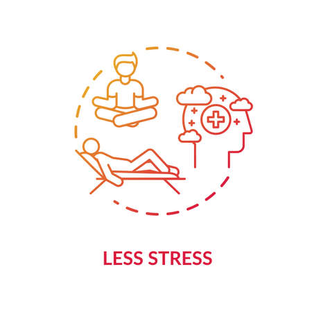Less stress red concept icon. Relaxation and rest. Meditation for recreation. Coping mechanism. Mental health idea thin line illustration. Vector isolated outline RGB color drawing