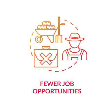 Fewer job opportunities red concept icon. Unemployment in village. Farmer work problem. Jobless man. Country living idea thin line illustration. Vector isolated outline RGB color drawing