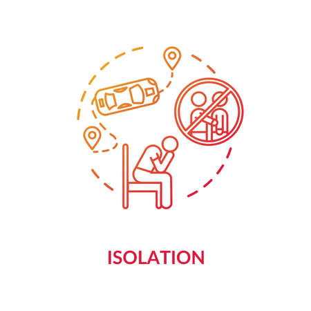 Isolation red concept icon. Loneliness and depression. Psychological problem. Long distance problem. Mental health issue idea thin line illustration. Vector isolated outline RGB color drawing