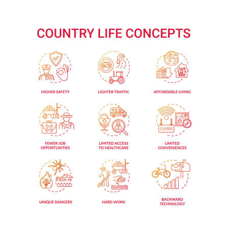Country life red concept icons set. Advantage and disadvantage of farming. Work outside city. Village living idea thin line RGB color illustrations. Vector isolated outline drawings