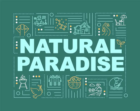 Nature paradise word concepts banner. Country living. Recreation outdoors. Infographics with linear icons on green background. Isolated typography. Vector outline RGB color illustration