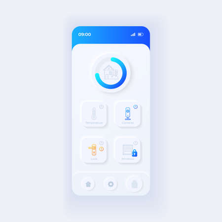 Internet of things application smartphone interface vector template. Mobile app page light design layout. Smart home screen. Flat UI for application. Security and climate control on phone display