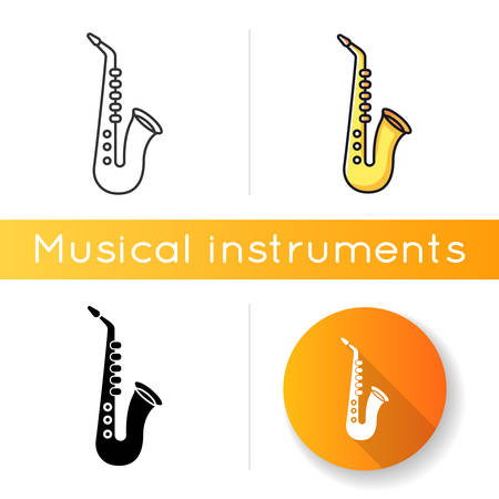 Saxophone icon. Musical instrument to play blues. Jazz band live performance. Music festival concert and entertainment. Linear black and RGB color styles. Isolated vector illustrations