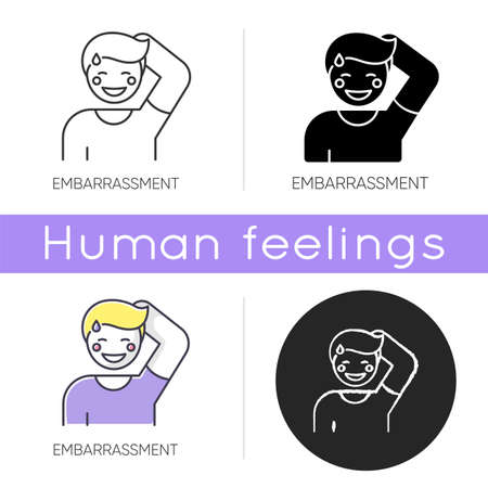 Embarrassment icon. Man acting shy. Feeling of humiliation. Self conscious behaviour. Nervous from modesty. Person blush and sweat. Linear black and RGB color styles. Isolated vector illustrations