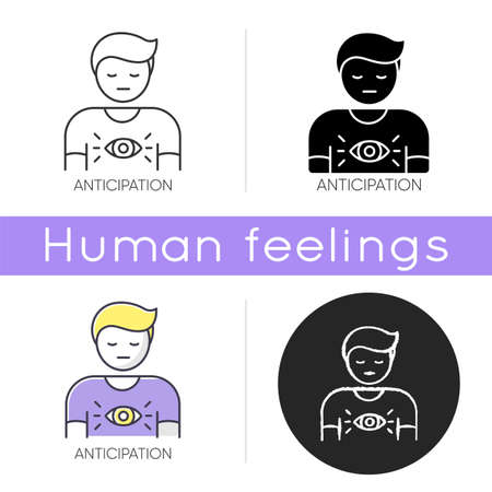 Anticipation icon. Man expecting future. Person with intuitive prediction. Third eye. Mental state. Human feeling of discomfort. Linear black and RGB color styles. Isolated vector illustrations