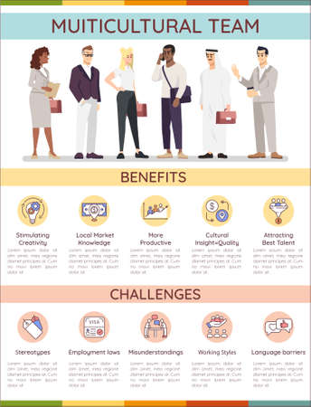 Multicultural team vector infographic template. Multiracial group UI web banner with flat characters. Benefit, challenge of cultural diversity. Cartoon advertising flyer, leaflet, ppt info poster idea