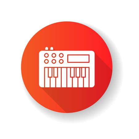 Synthesizer red flat design long shadow glyph icon. Electronic musical instrument for band performance. Keyboard to play music. Electric piano to compose melody. Silhouette RGB color illustration