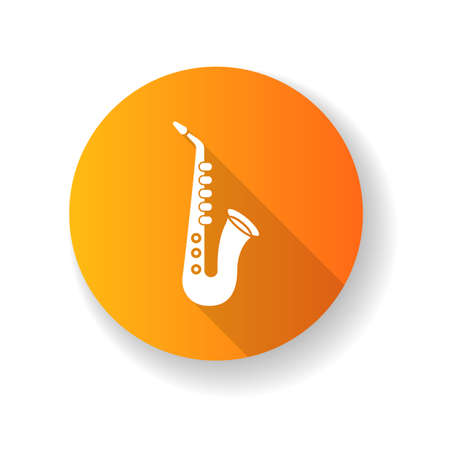Saxophone orange flat design long shadow glyph icon. Musical instrument to play blues. Jazz band live performance. Music festival concert and entertainment. Silhouette RGB color illustration Çizim