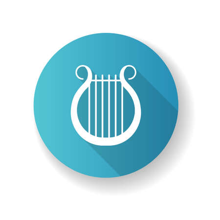 Lyra blue flat design long shadow glyph icon. Classical music. Orchestra string musical instrument. Opera performance. Greek muse. Theater and culture. Silhouette RGB color illustration