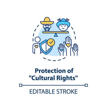 Icône de concept de protection des droits culturels. Autonomisation multiethnique. Unité sociale. Illustration de ligne mince idée égalité raciale. Dessin de couleur RVB de contour isolé de vecteur. Trait modifiable Vecteurs