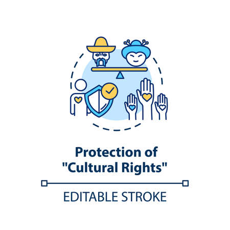Protection of cultural rights concept icon. Multi ethnic empowerment. Social unity. Racial equality idea thin line illustration. Vector isolated outline RGB color drawing. Editable stroke Vectores