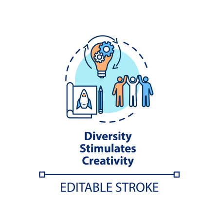 Diversity stimulates creativity concept icon. Productive work in multi national group. Multi cultural team idea thin line illustration. Vector isolated outline RGB color drawing. Editable stroke