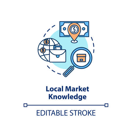 Local market knowledge concept icon. Research for global product sale. Corporate strategy. Business knowledge idea thin line illustration. Vector isolated outline RGB color drawing. Editable stroke Ilustracja