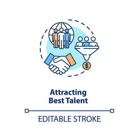 Attracting best talent concept icon. International recruitment. Multi national work group. Multi cultural team idea thin line illustration. Vector isolated outline RGB color drawing. Editable stroke