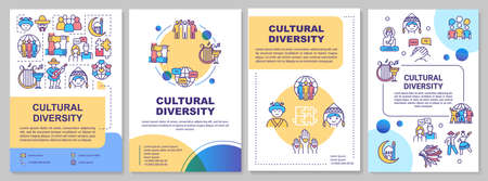 Cultural diversity brochure template. International community. Flyer, booklet, leaflet print, cover design with linear icons. Vector layouts for magazines, annual reports, advertising posters