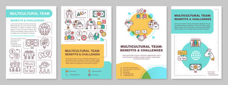 Multicultural team brochure template. Benefit and challenge. Flyer, booklet, leaflet print, cover design with linear icons. Vector layouts for magazines, annual reports, advertising posters