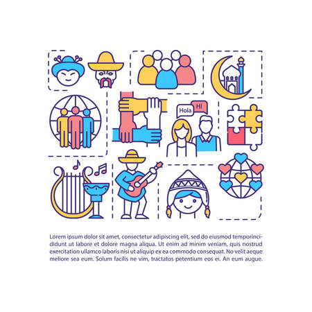 Multiculturalism concept icon with text. Multiethnic tradition. Multinational historical heritage. PPT page vector template. Brochure, magazine, booklet design element with linear illustrations Vectores