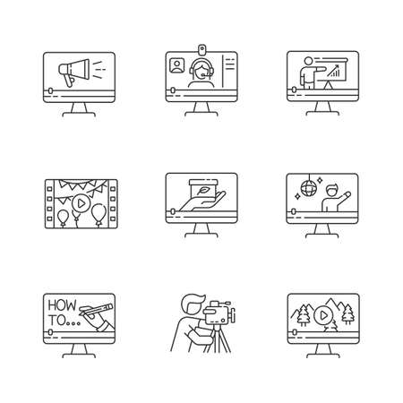 Videography pixel perfect linear icons set. Web conference. Internet blogging. Nature documentary film. Customizable thin line contour symbols. Isolated vector outline illustrations. Editable stroke