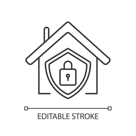 Smart home security system pixel perfect linear icon. Modern house alarm. Electronic lock. Thin line customizable illustration. Contour symbol. Vector isolated outline drawing. Editable stroke