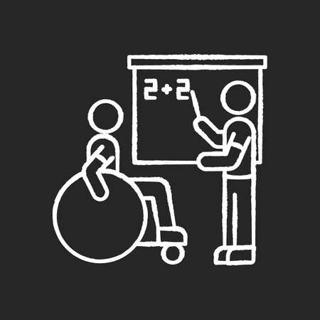 Inclusive education chalk white icon on black background. Assistastance for person with disability. Special class teacher. School accessibility for invalid. Isolated vector chalkboard illustration