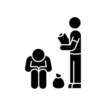Service for homeless black glyph icon. Social service to help poor people. Volunteering to give humanitarian aid. Sharing donation. Silhouette symbol on white space. Vector isolated illustration Ilustração Vetorial