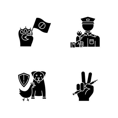 Social activism black glyph icons set on white space. Animal right demonstration. Wildlife protection. Freedom of press. Journalism and media. Silhouette symbols. Vector isolated illustration