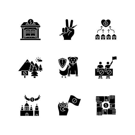 Community support black glyph icons set on white space. Public strike, social demonstration and union. Money donation to library. Free education. Silhouette symbols. Vector isolated illustration