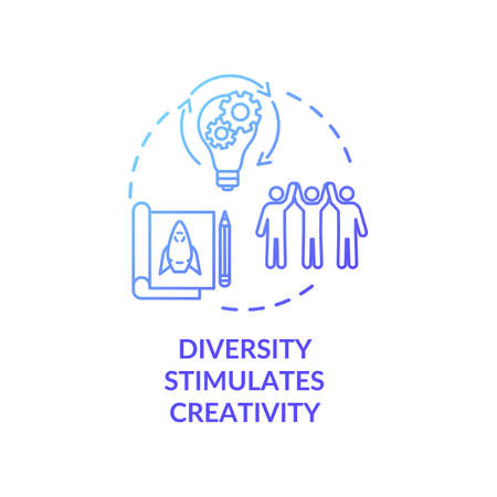 Diversity stimulates creativity blue gradient concept icon. Productive work in multi national group. Multi cultural team idea thin line illustration. Vector isolated outline RGB color drawing