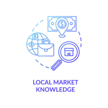 Local market knowledge blue gradient concept icon. Research for global product sale. Corporate strategy. Business knowledge idea thin line illustration. Vector isolated outline RGB color drawing Ilustracja
