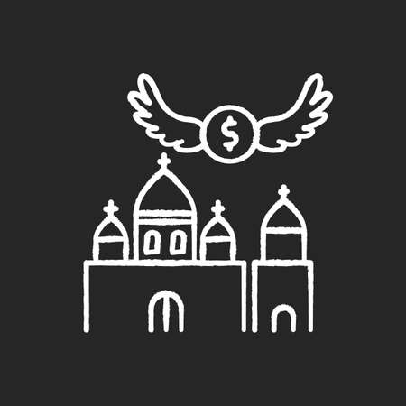 Church donation chalk white icon on black background. Charity for religious community. Offer money to support holy ceremony. Invest in chapel. Isolated vector chalkboard illustration