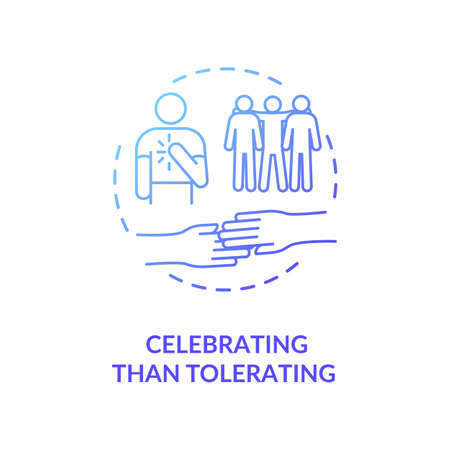 Celebrating than tolerating blue gradient concept icon. Multinational inclusive community. Racial equality. Cultural diversity idea thin line illustration. Vector isolated outline RGB color drawing