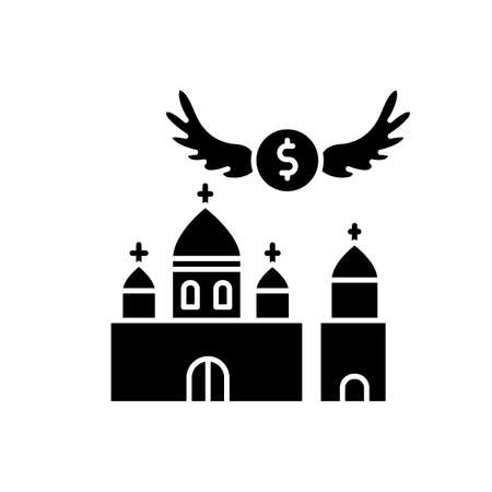 Church donation black glyph icon. Charity for religious community. Contribution to christian congregation. Invest in chapel. Silhouette symbol on white space. Vector isolated illustration