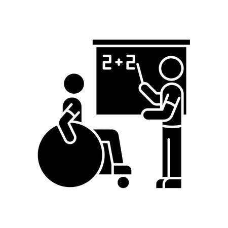 Inclusive education black glyph icon. Assistastance for person with disability. Handicapped student support. Special class teacher. Silhouette symbol on white space. Vector isolated illustration