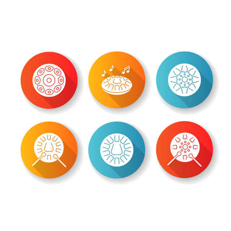 Ornamental handpan flat design long shadow glyph icons set. Traditional musical instrument for relaxation beats. Play in band with steelpan percussion. Silhouette RGB color illustration