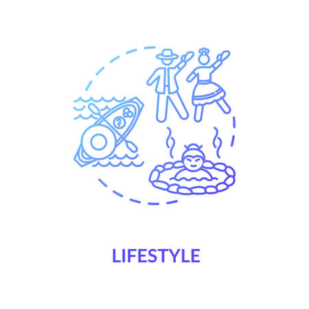 Lifestyle blue gradient concept icon. Cultural diversity. Ethnic customs. Multi racial social norm. National tradition idea thin line illustration. Vector isolated outline RGB color drawing