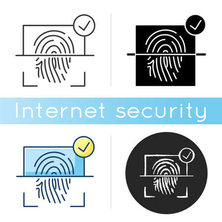 Finger print scanner icon. User identification. Authorization and verification process. Digital lock. Electronic access. Linear black and RGB color styles. Isolated vector illustrations 向量圖像