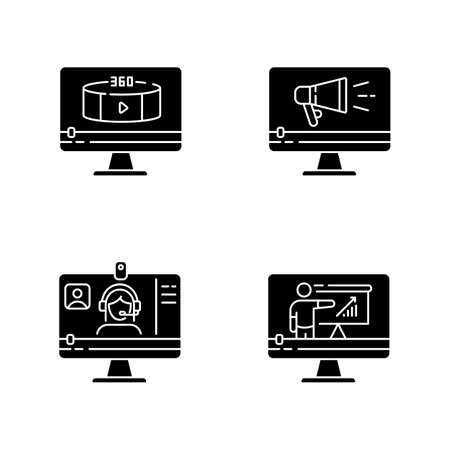 Internet video black glyph icons set on white space. Online lesson watching. Web conference. 360 degree view footage. TV commercial. Silhouette symbols. Vector isolated illustration