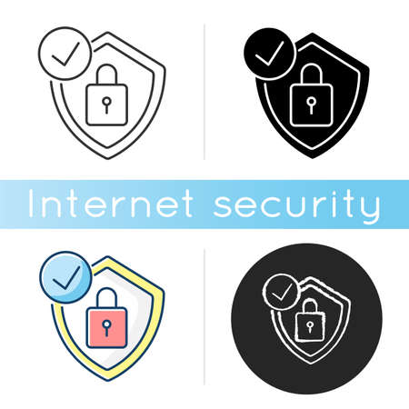 Antivirus icon. Digital encryption. Personal data protection. Padlock and shield. Cybersecurity technology. Linear black and RGB color styles. Isolated vector illustrations