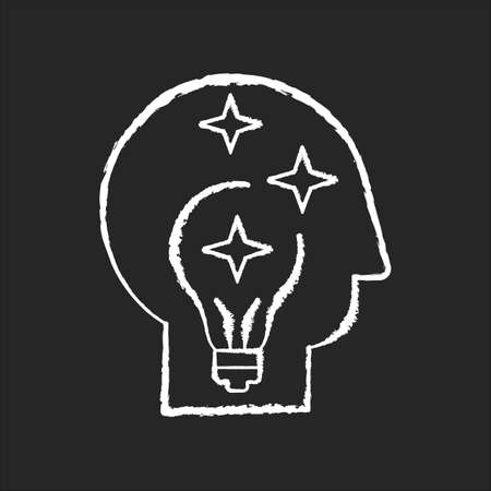 Idea generation chalk white icon on black background. Insight while brainstorming. Human head with innovative thought. Imagination for project development. Isolated vector chalkboard illustration