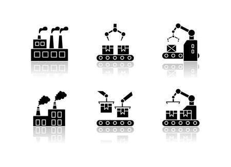 Factory production drop shadow black glyph icons set. Plant conveyor belt with cardboard boxes. Automated factory packaging. Facility manufacture process. Isolated vector illustrations on white space