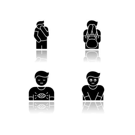 Human behaviour drop shadow black glyph icons set. Feeling of shame. Man with self blame. Social emotion of guilt. Symptom of psychological abuse. Isolated vector illustrations on white space Vettoriali